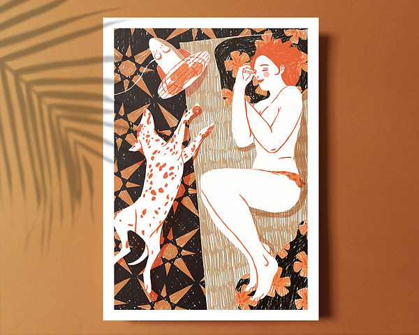 illustration print artwork naked woman nap dog dalmatian heat wave summer hot home everyday scene