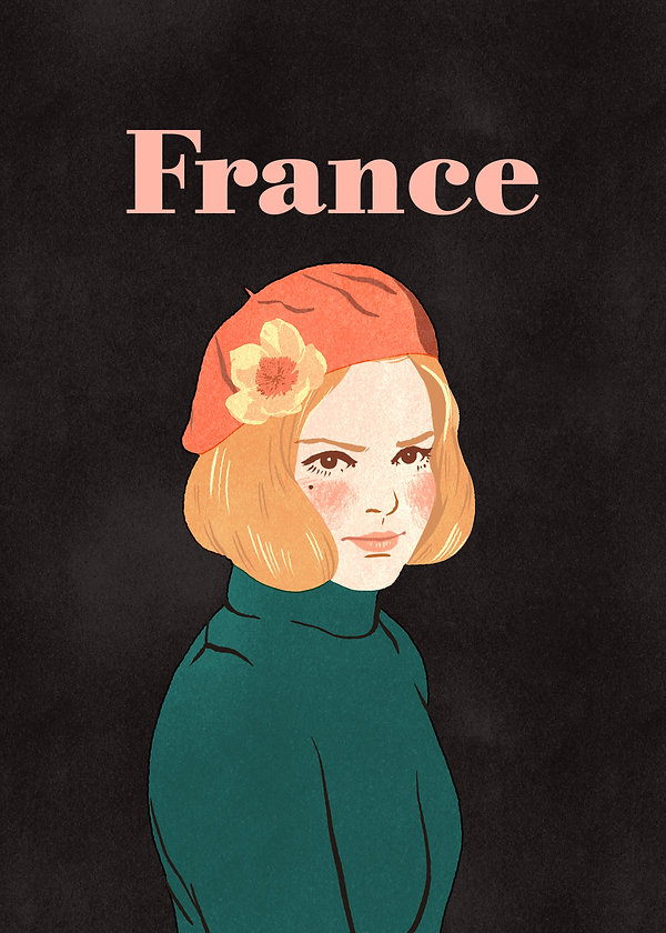illustration portrait of french singer france gall sixties icon beret pink turquoise black woman pretty face