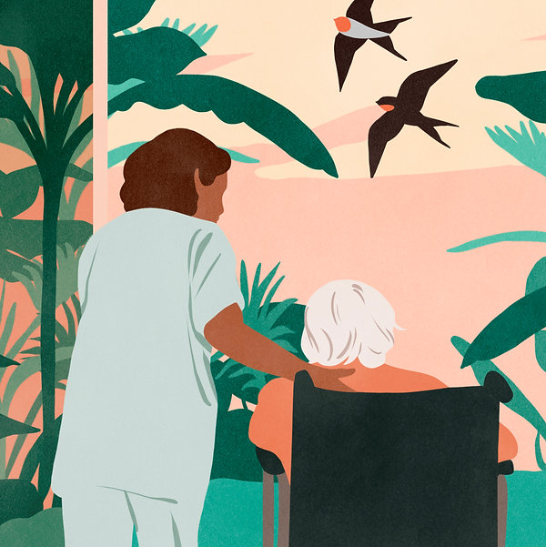 personne âgée en fauteuil et aide soignante infirmière entraide solidarité
