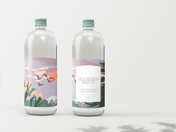 illustration landscape moutain flowers birds sun clouds pink purple packaging water bottle design
