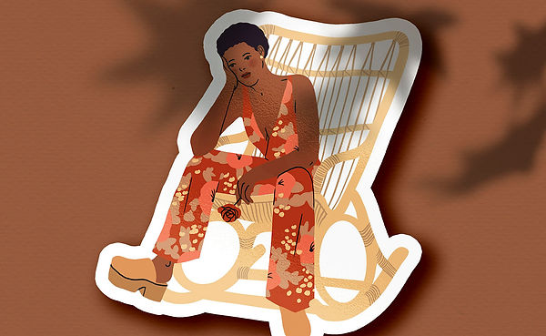 vinyl stickers illustration woman in jumpsuit flower pattern pensive melancholy romantic rocking chair vintage retro seventies