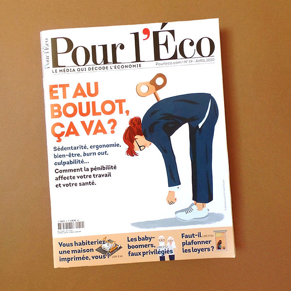 magazine cover illustration editorial press burn out working girl woman exhausted in blue marine suit