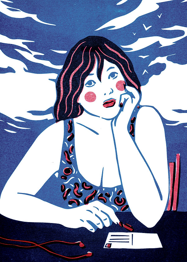 illustration woodblock print riso printing woman writing postcard pensive thinking vacation holidays inspiration clouds blue summer