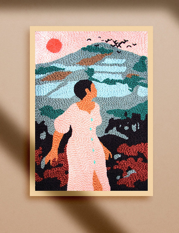 punch needle embroidery wool landscape woman big frame craft broderie artwork