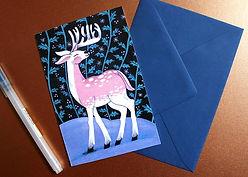illustration holidays card greetings christmas winter cute animals polar deer retro vintage stationary