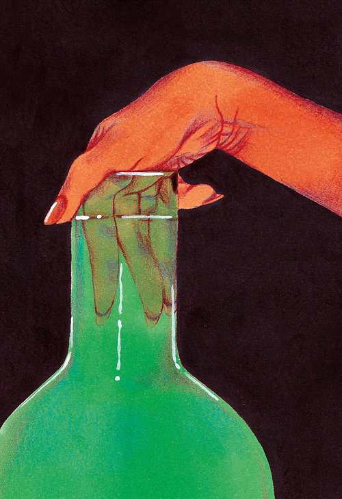 illustration drawing color pencil markers hand and coloured glass transparent delicate green erotic fingers