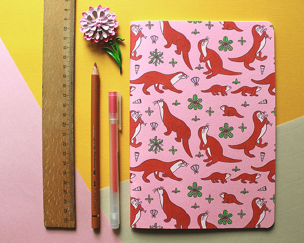 cute stationary otters patern girly pink sweet notebook illustration