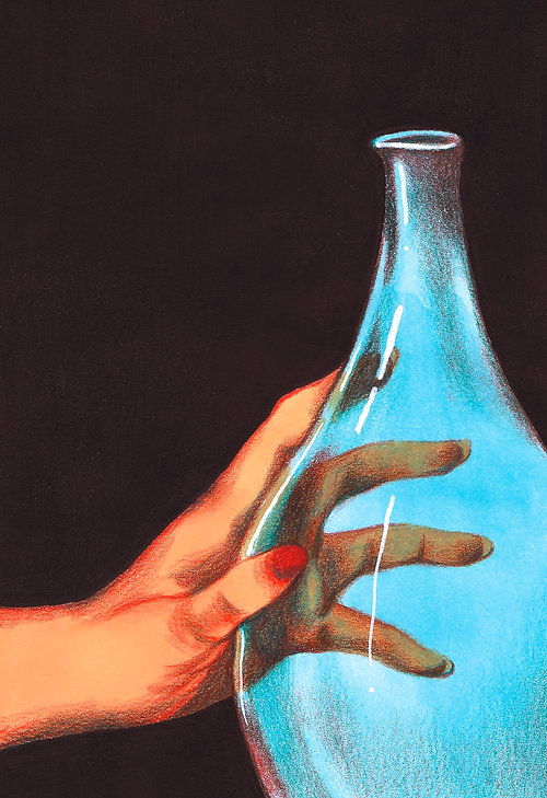 illustration drawing color pencil markers hand and coloured glass transparent delicate