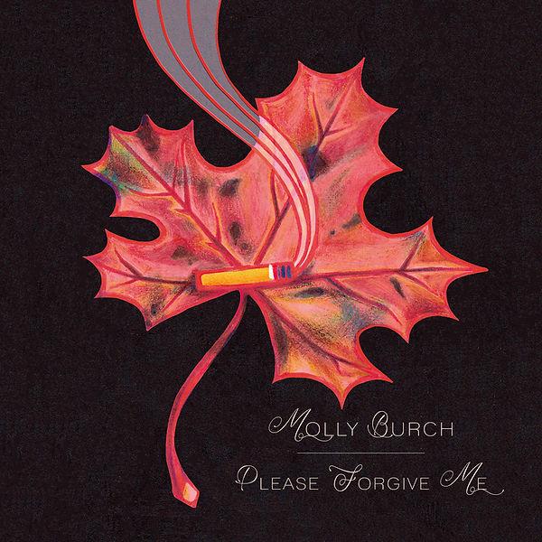 illustration music album cover artwork songwriter indie pop rock molly burch cigarette dark black background forest