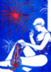 riso risograph print illustration blue woman cat pet fireworks sensual illustratrice
