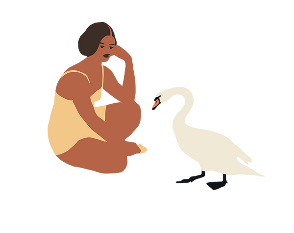vector illustration young dark woman feeding swan bird bread poetic soft