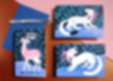 illustration holidays card greetings christmas winter cute animals polar deer mink hermine