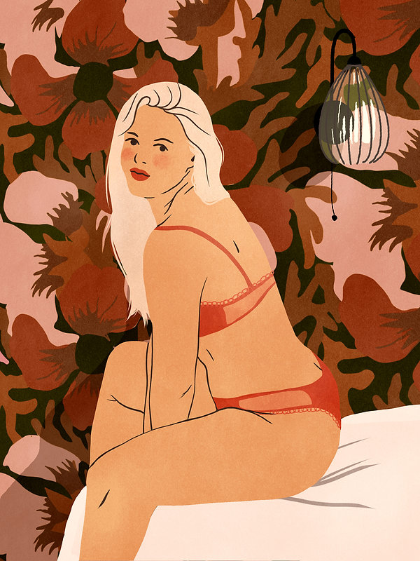 illustration beautiful curvy woman in sexy lingerie set flower wallpaper background vintage floral retro colors red lace sheer platinium blonde