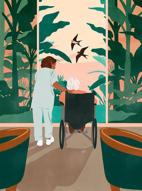 illustration de couverture pour directions magazine sur la transition écologique dans les maisons de retraite ephad centre sociaux