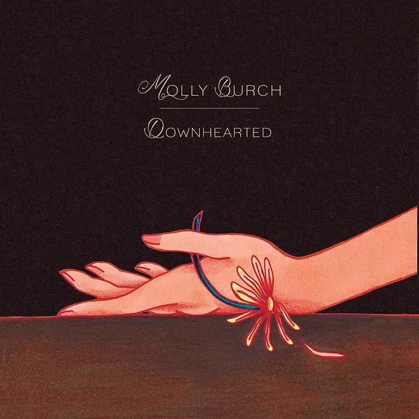 illustration music album cover artwork songwriter indie pop rock molly burch single hand flower romantic heartbreak dark black background forest