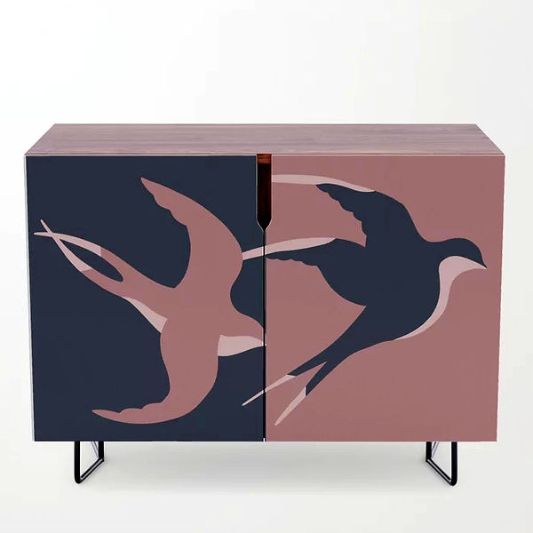 decorated furniture painted credenza design decorative sparrows limited colours color block grey dusty pink birds couple