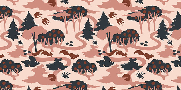 nature forest pattern squirrel joyful minimalist simple vector illustration cute landscape beige pink brown