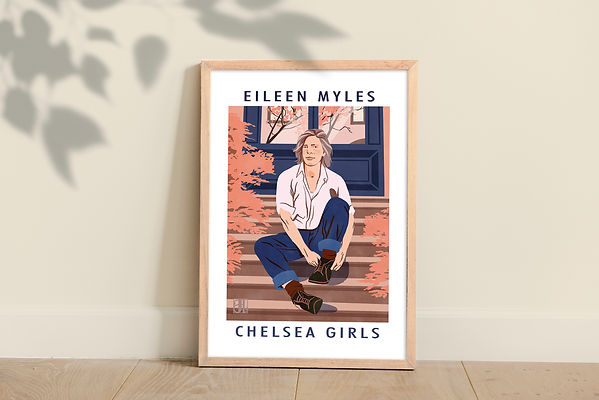 illustrated portrait of eileen myles female poetry queer author butch pride pink and blue new york retro vintage fall comission framed print