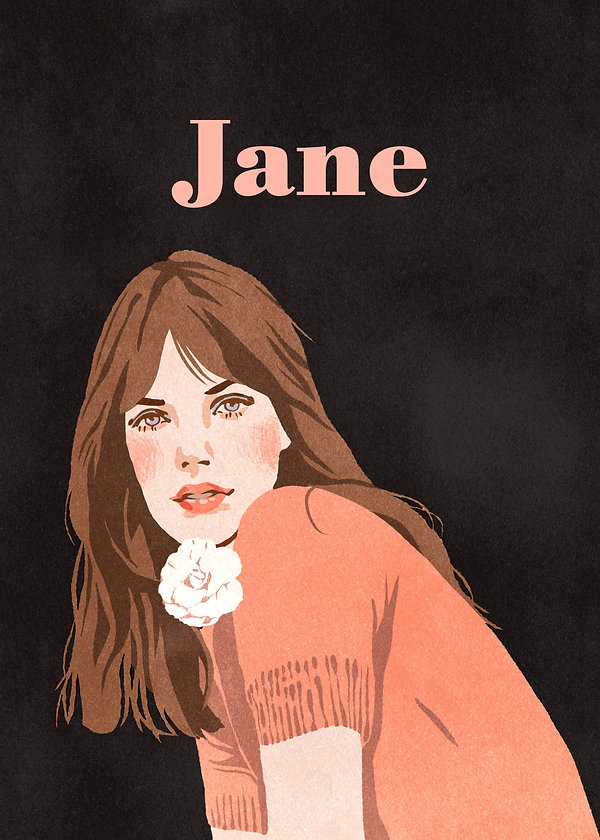 illustration portrait of french singer actress jane birkin british sixties icon pink flower black background woman pretty face