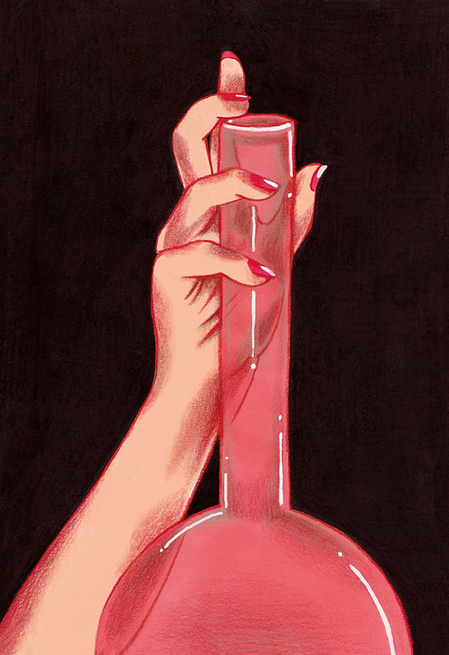 illustration drawing color pencil markers hand and coloured glass transparent delicate pink erotic