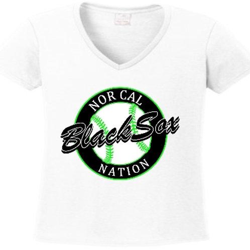 Ladies White V-Neck (Circle Logo)