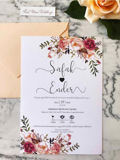 Safak Floral Classic Wedding Invitation