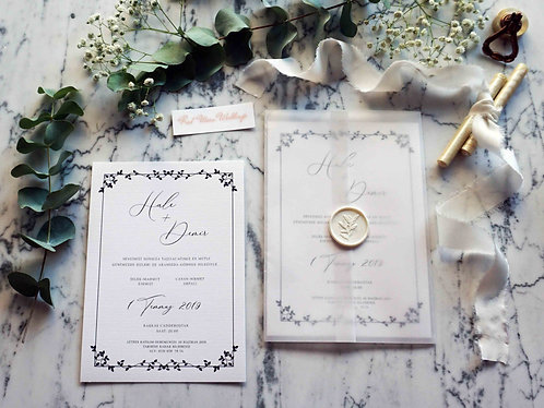 Deniz Floral Vellum Wedding Invitations