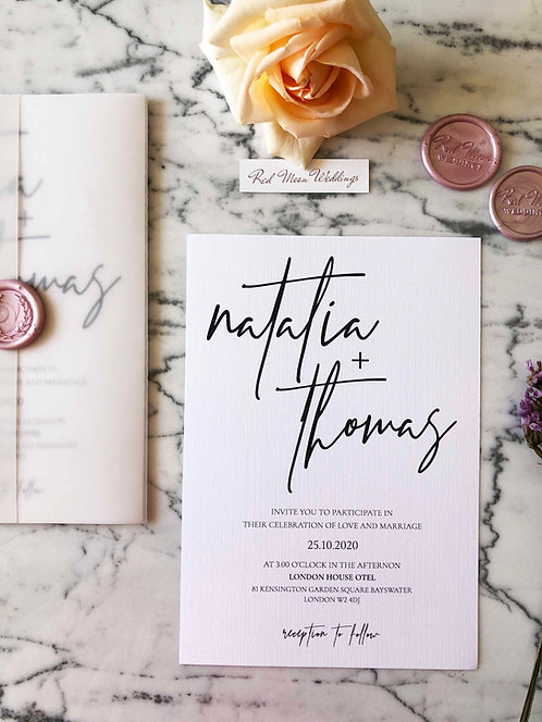 Natalia Vellum Wedding Invitation