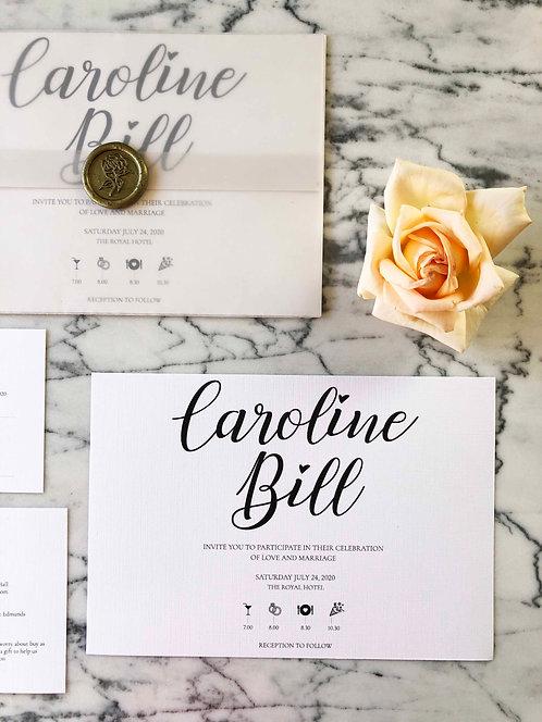 Caroline Calligraphy Vellum Wedding Invitation