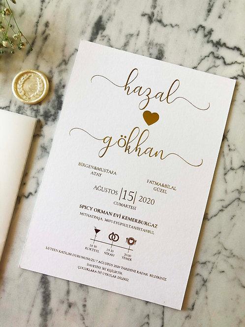 Hazal Gold Foil Luxury Vellum Wedding Invitation