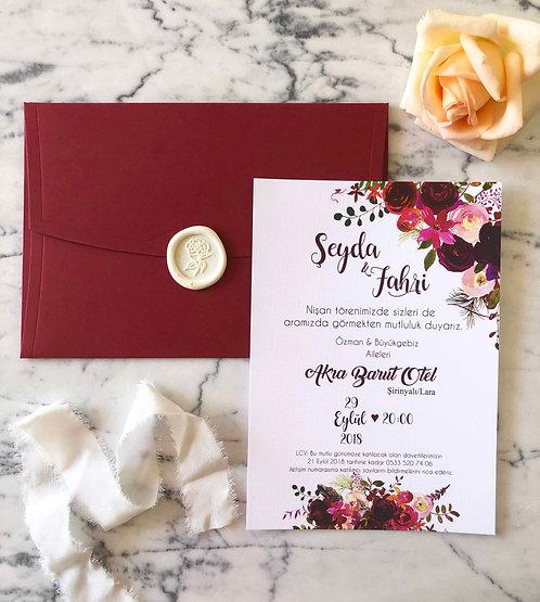 Fahri Floral Red Wedding Invitation Suite