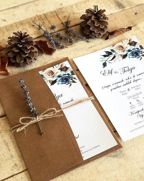 Elif Rustic Lavender Wedding Invitation