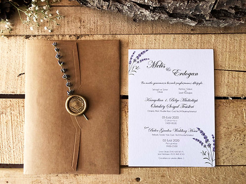 Melis Rustic Modern Lavender Wedding Invitation