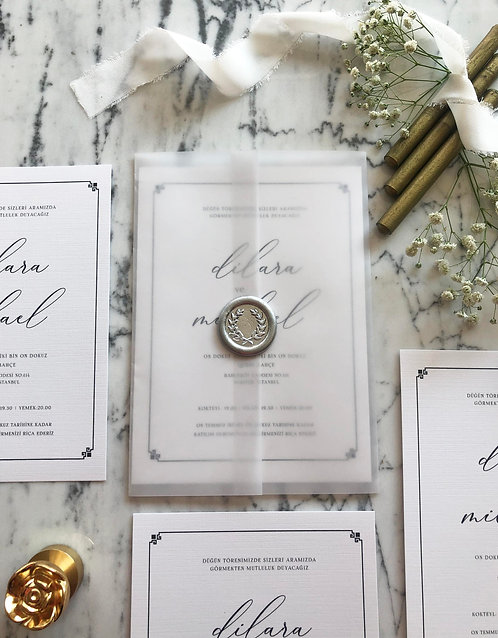 Michael Vellum Wedding Invitation