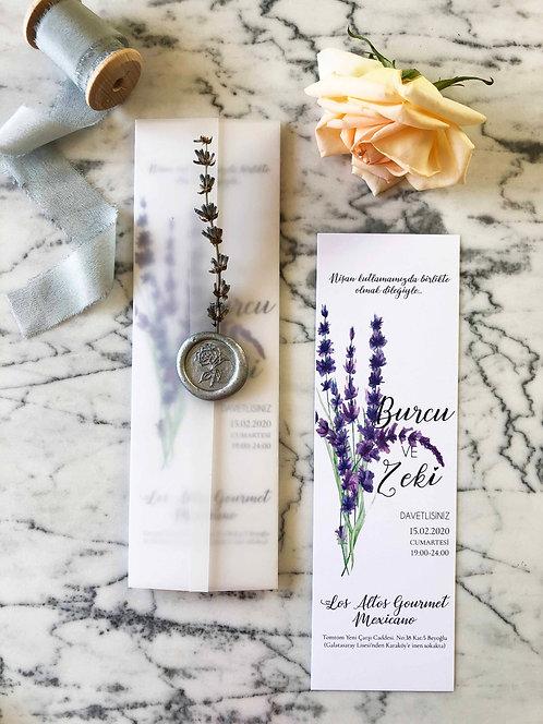 Burcu Lavender Bookmark Vellum Wedding Invitation
