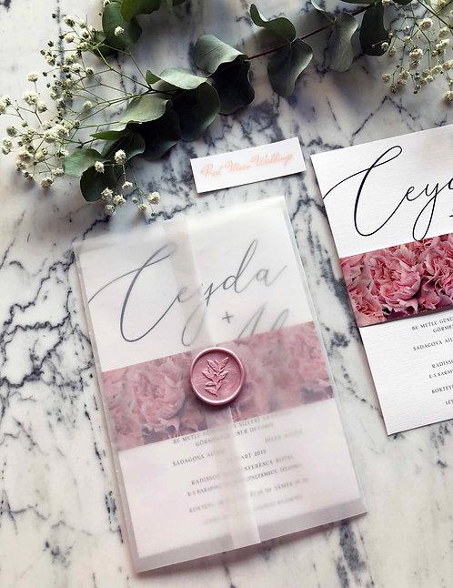Ceyda Blush Floral Vellum Invitation