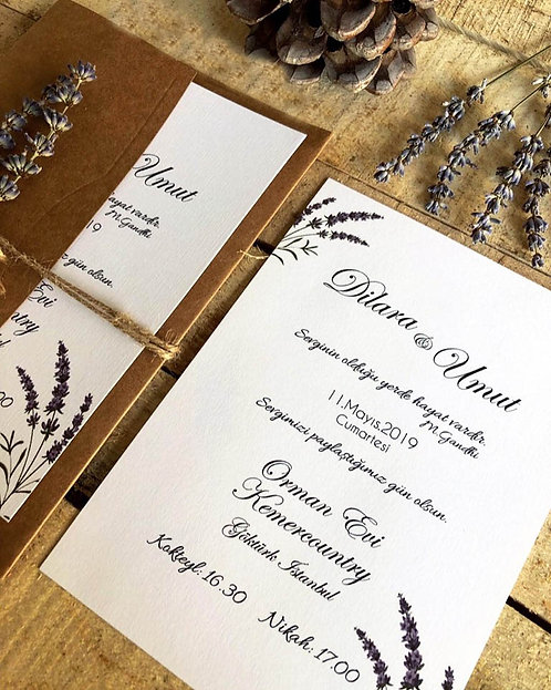 Dilara Rustic Luxury Lavender Wedding Invitation
