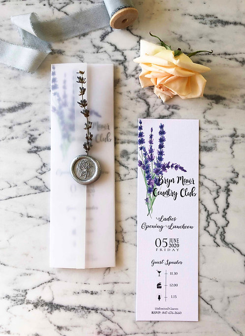 Bookmark Romantic Lavender Vellum Invitations