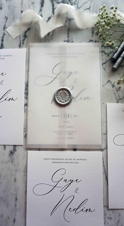 Gaye Calligraphy Vellum Wedding Invitation
