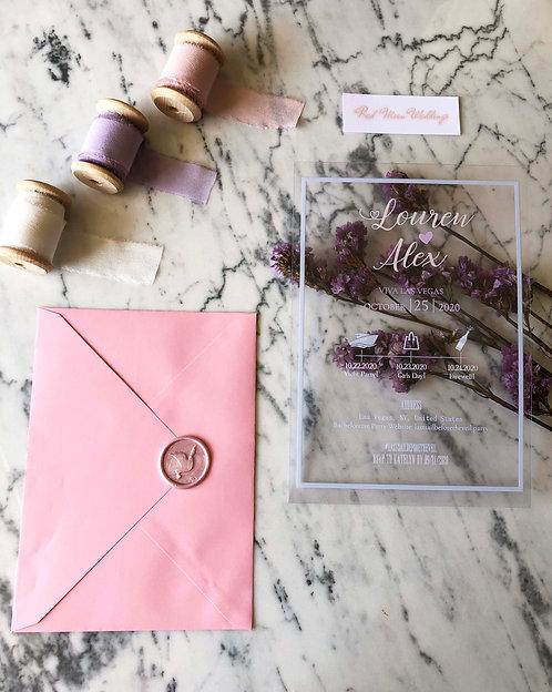 Louren Acrylic Blush Wedding Invitation Suite