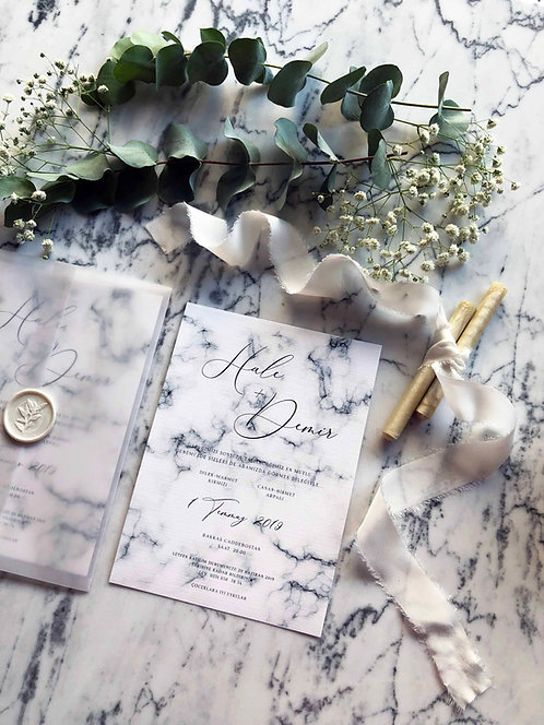 Hale Marble Vellum Wedding Invitations