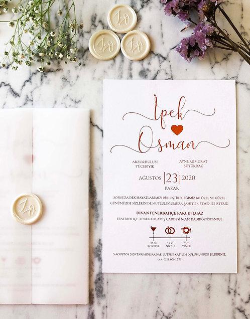 İpek Rose Gold Luxury Vellum Wedding Invitation