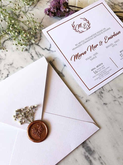 Merve Rose Gold Luxury Wedding Invitation