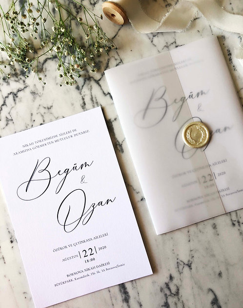 Begüm Vellum Wedding Invitation