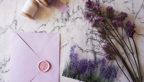 Betül Lavender Acrylic Wedding Invitation