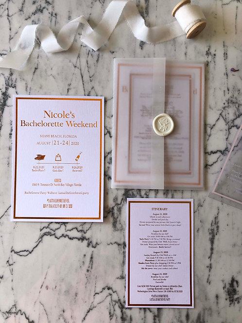 Nicole Rose Gold Foil Vellum Wedding Invitation Suite