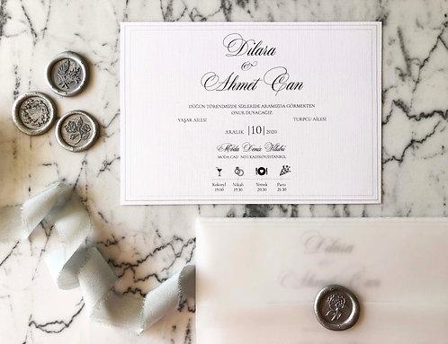 Dilara Romantic Calligraphy Vellum Invitation