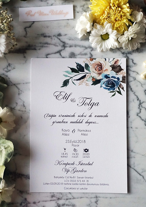 Elif Romantic Vellum Wedding Invitation