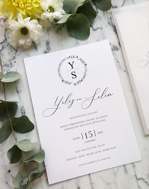 Yeliz Modern Vellum Wedding Invitation