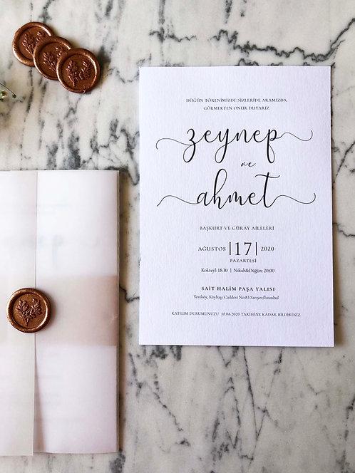 Zeynep Vellum Wedding Invitation